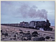 10 Ein langer Zug mit leeren Kohlenwegen begleiten wir mit dem Mietauto bis Rio Turbio