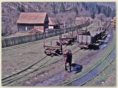 07 Das Manöver mit den zu befördernden leeren Wagen zur Bergstaton besorgt ein Pferd.