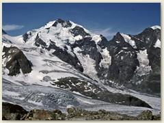 23 Piz Bernina mit Biancograt, Piz Prievlus, Piz Morteratsch