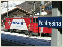 01r Pontresina - Fliegen oder Fahren / Start der winterlichen Reise über die Bernina