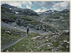 11_Unweit unseres Bergweges befindet sich der Passo die Slingia auf der Grenze nach Italien zur Sesvennahütte