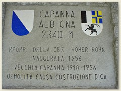 13_Die Hüttenanschrift der Capanna Albigna der Sektion Hoher Rohn