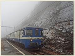 12_Der Triebzug-  Pendelzug mit Steuerwagen trifft von Goppenstein kommend in Hohtenn ein