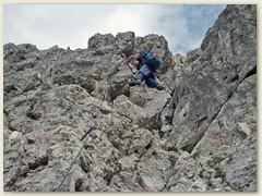 103_Beginn Abstieg Klettersteig Scalette, teilweise mit Drahtseil gesichert