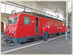 51r Ab dem Bahnhof Disentis fährt die 'matterhorn gotthardbahn' (ehem FOB) weiter nach Brig - Zermatt