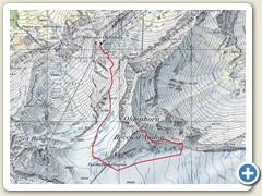 01 Kartenausschnitt mit der Route aufs Oldenhorn