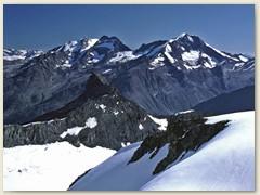 37 Fletschhorn 3982 m, Lagginhorn 4020 m und Weissmies 4017 m