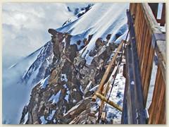 24 Vom Balkon des Rifugio Regina Margherita, der höchstgelegenen Hütte Europas, geht's über tausend Meter senkrecht die Ost-Südostwand hinunter