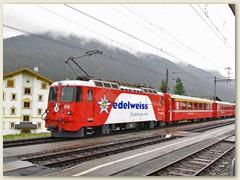 """11r Ge 4/4 II Nr. 618 """"Bergün"""" mit Werbung der Fluggesellschaft Edelweiss"""