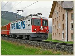 """12r Ge 4/4 II Nr. 616 """" Filisur"""" mit Werbung der Firma Siemens"""